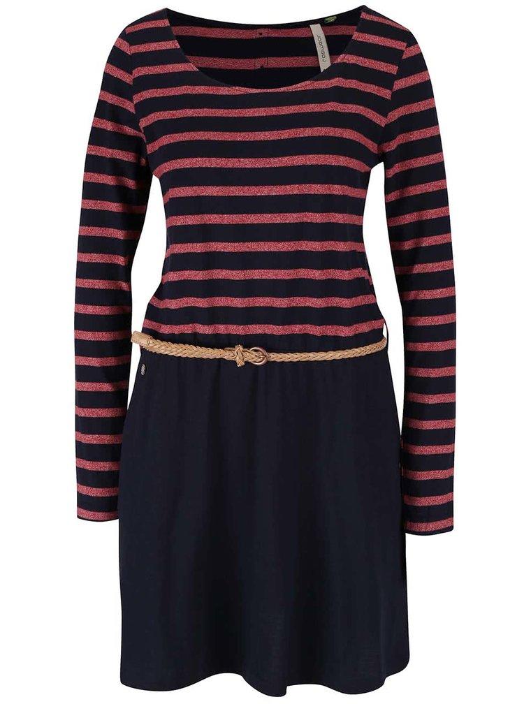 Červeno-modré pruhované šaty s páskem Ragwear Daya Organic