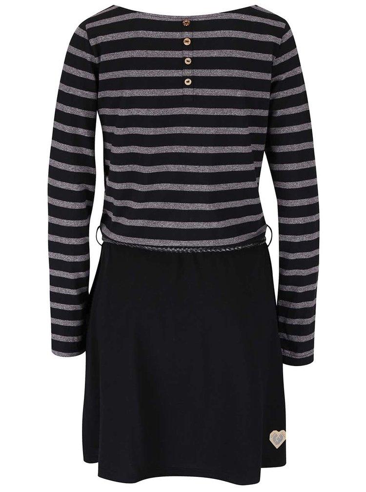 Šedo-černé pruhované šaty s páskem Ragwear Daya Organic