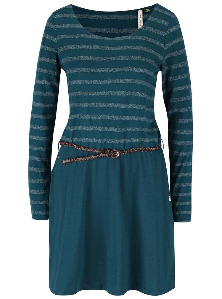 Tmavě zelené pruhované šaty s páskem Ragwear Daya Organic