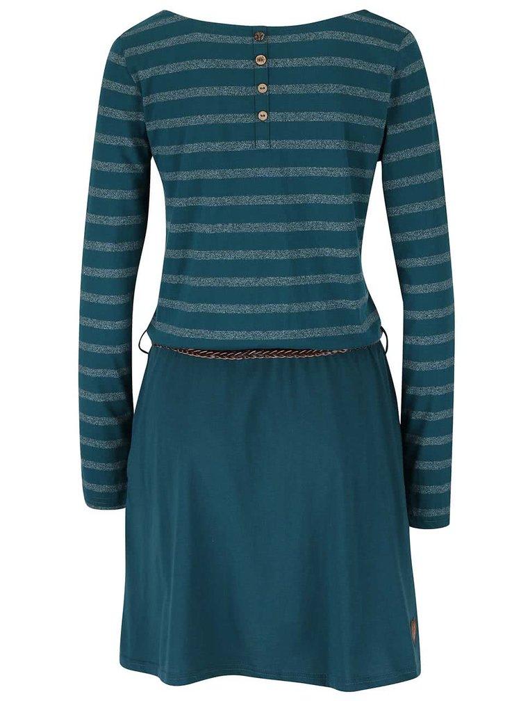 Tmavozelené pruhované šaty s opaskom Ragwear Daya Organic