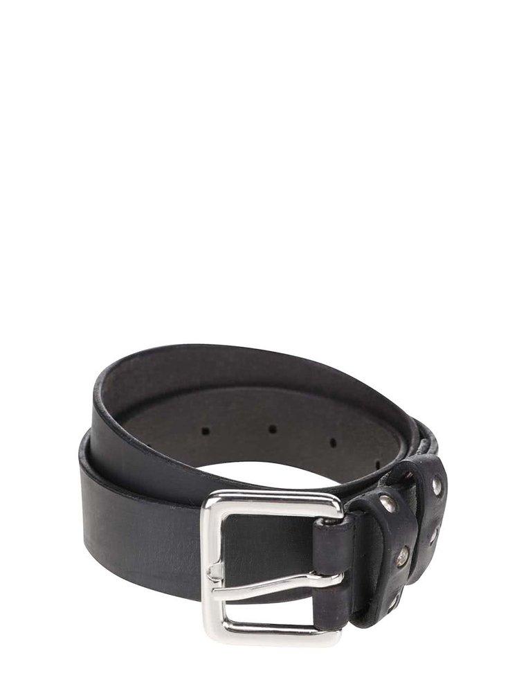 Černý kožený pásek Pieces Pesta