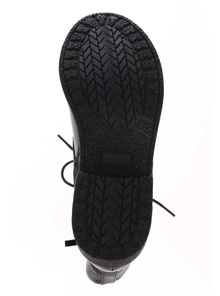 Černé kotníkové šněrovací boty Pieces Dallas