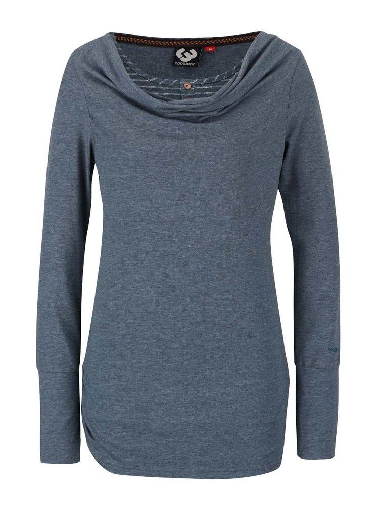 Petrolejové dámske melírované tričko s dlhým rukávom Ragwear Zimt