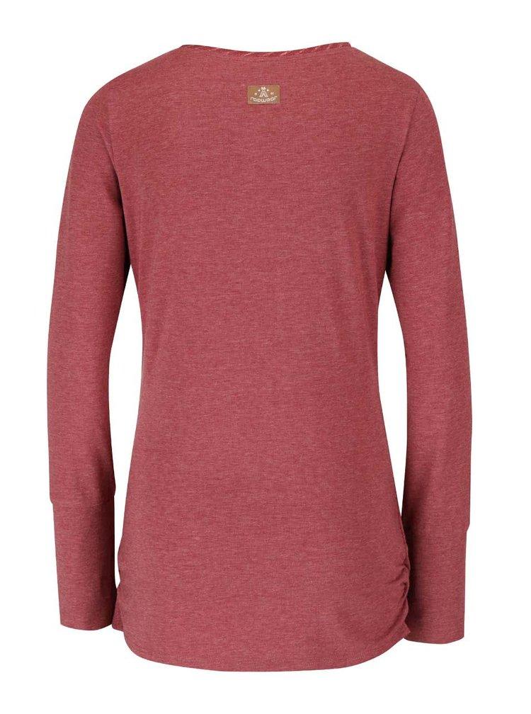 Bluza rosie Ragwear Zimt cu decolteu rasucit