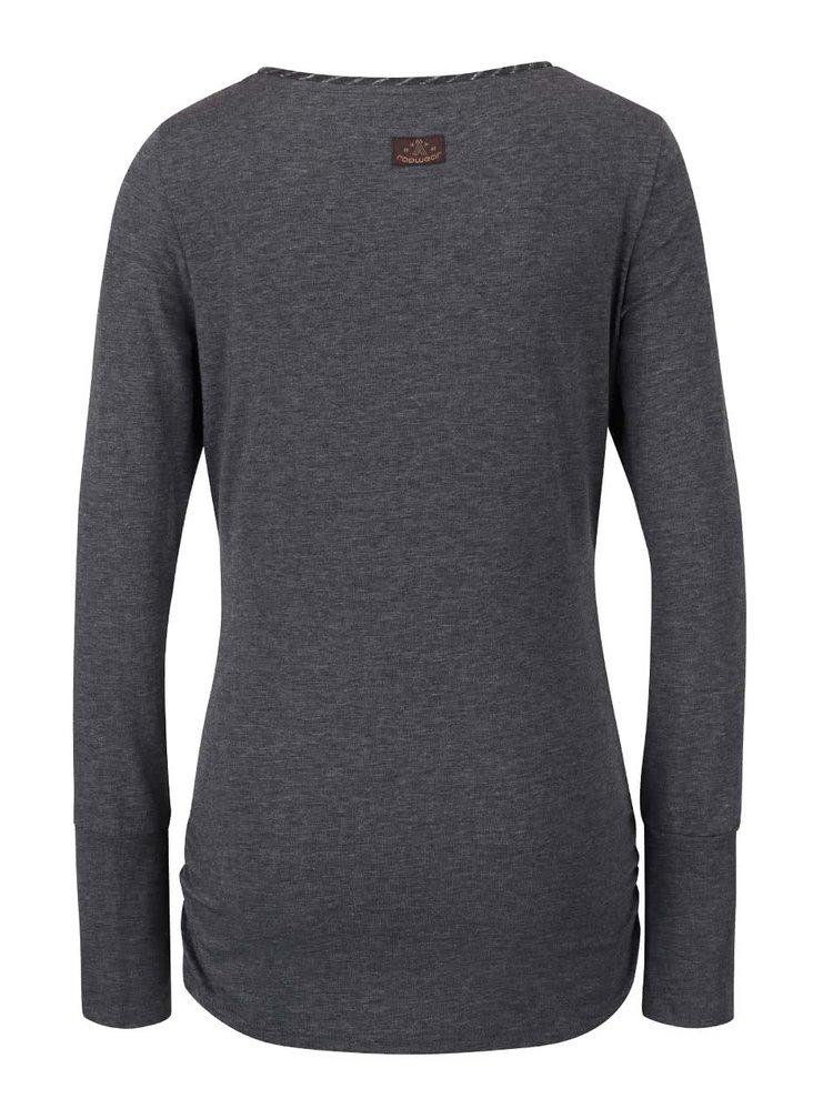 Tmavě šedé dámské tričko s dlouhým rukávem Ragwear Zimt