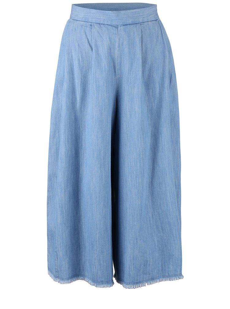 Pantaloni culottes French Connection Cora albastru deschis