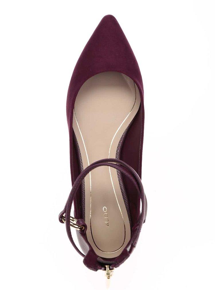 Vínové dámské sandály se špičkou v semišové úpravě ALDO Biacci