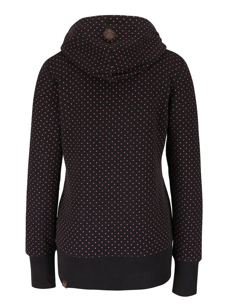 Černá puntíkovaná dámská mikina s kapucí Ragwear Chelsea Dots