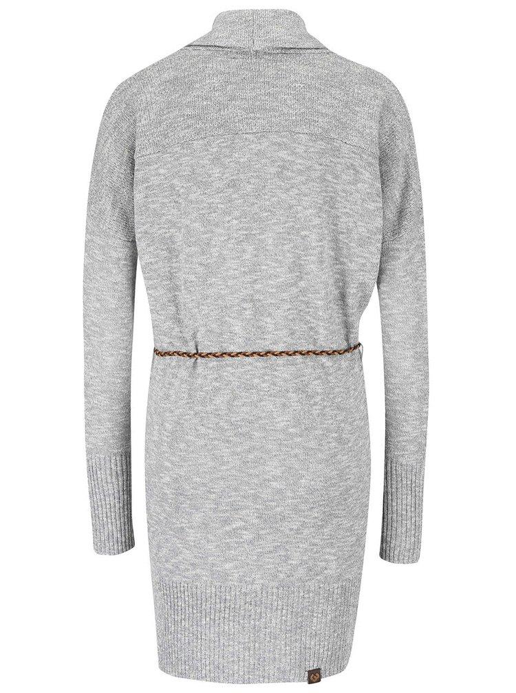 Šedý dámský žíhaný delší svetr s páskem Ragwear Port