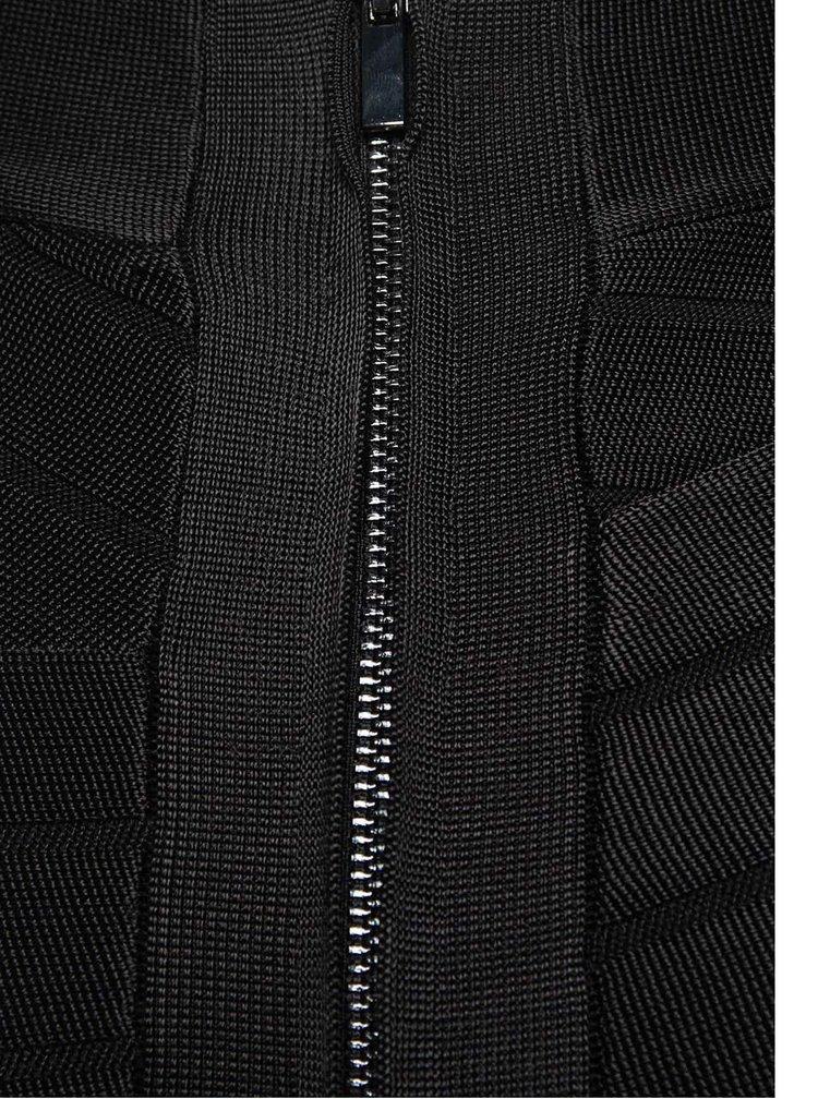 Čierna elastická sukňa so zipsom French Connection Spotlight