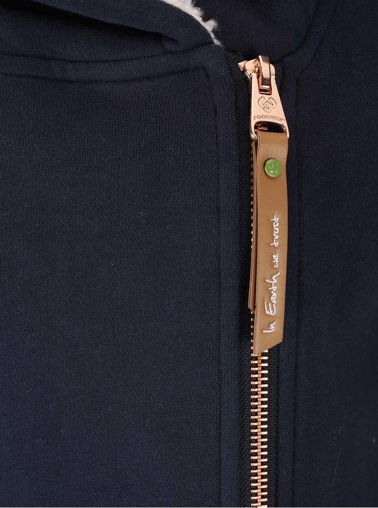 Tmavomodrá dámska dlhá mikina na zips Ragwear Amelia Organic