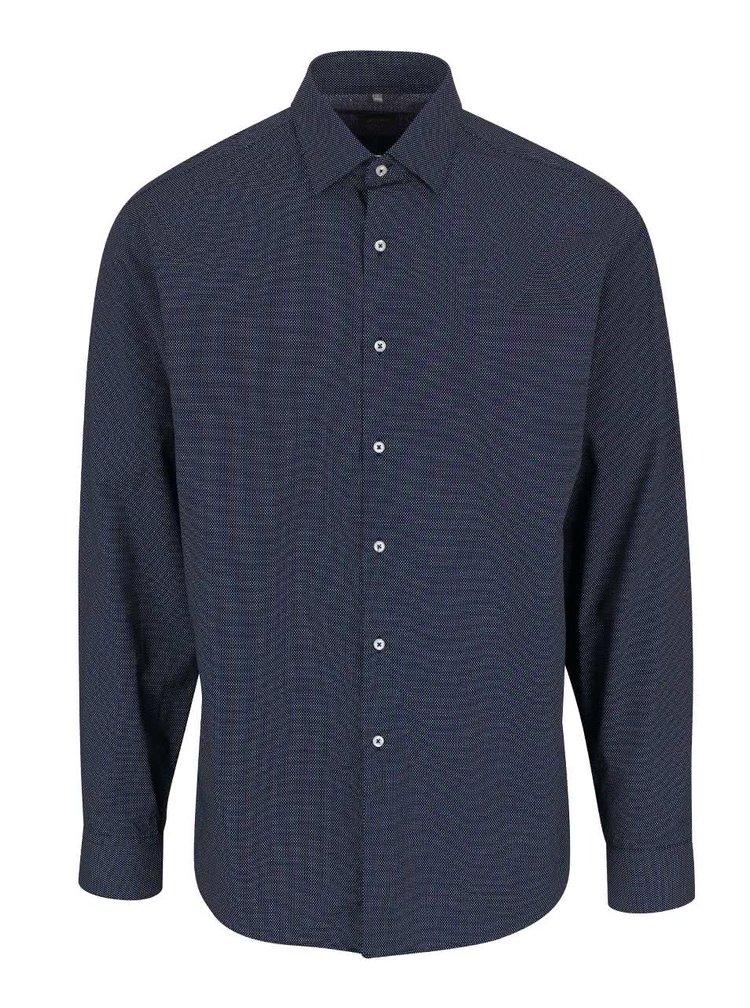 Tmavomodrá pánska košeľa s jemným vzorom Seven Seas