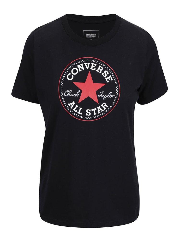 Čierne dámske tričko s logom Converse Core