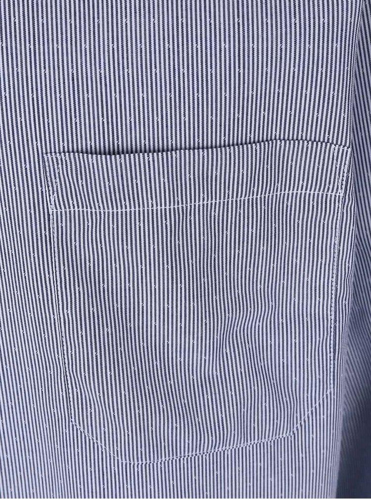 Tmavomodrá pruhovaná pánska košeľa s detailmi Seven Seas