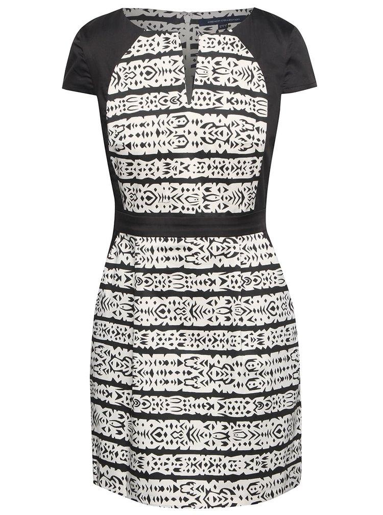 Krémovo-čierne vzorované šaty French Connection Mayan