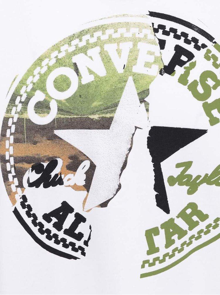 Biele pánske tričko s farebným logom Converse On the road