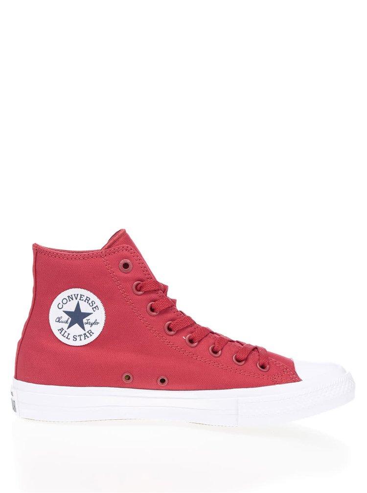 Červené unisex členkové tenisky s bielym logom Converse Chuck Taylor All Star