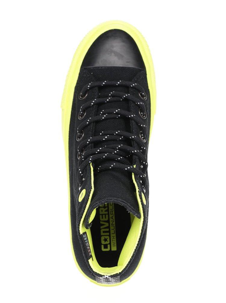 Černé unisex kotníkové tenisky se zelenou podrážkou Converse Chuck Taylor All Star II