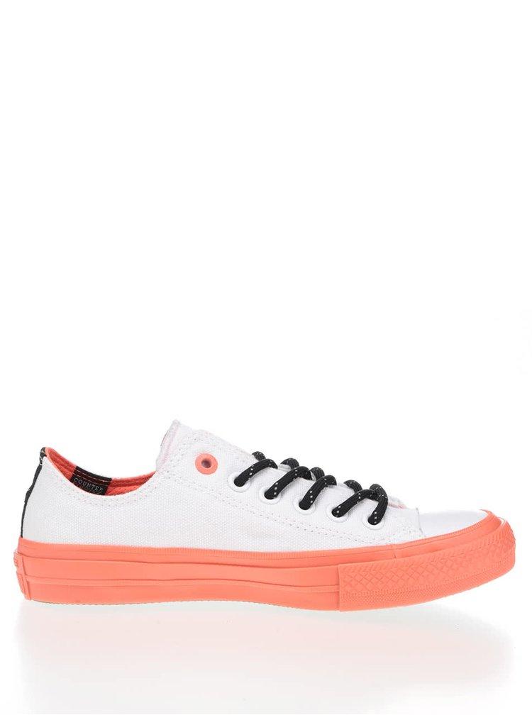 Bílé unisex tenisky s oranžovou podrážkou Converse Chuck Taylor All Star II