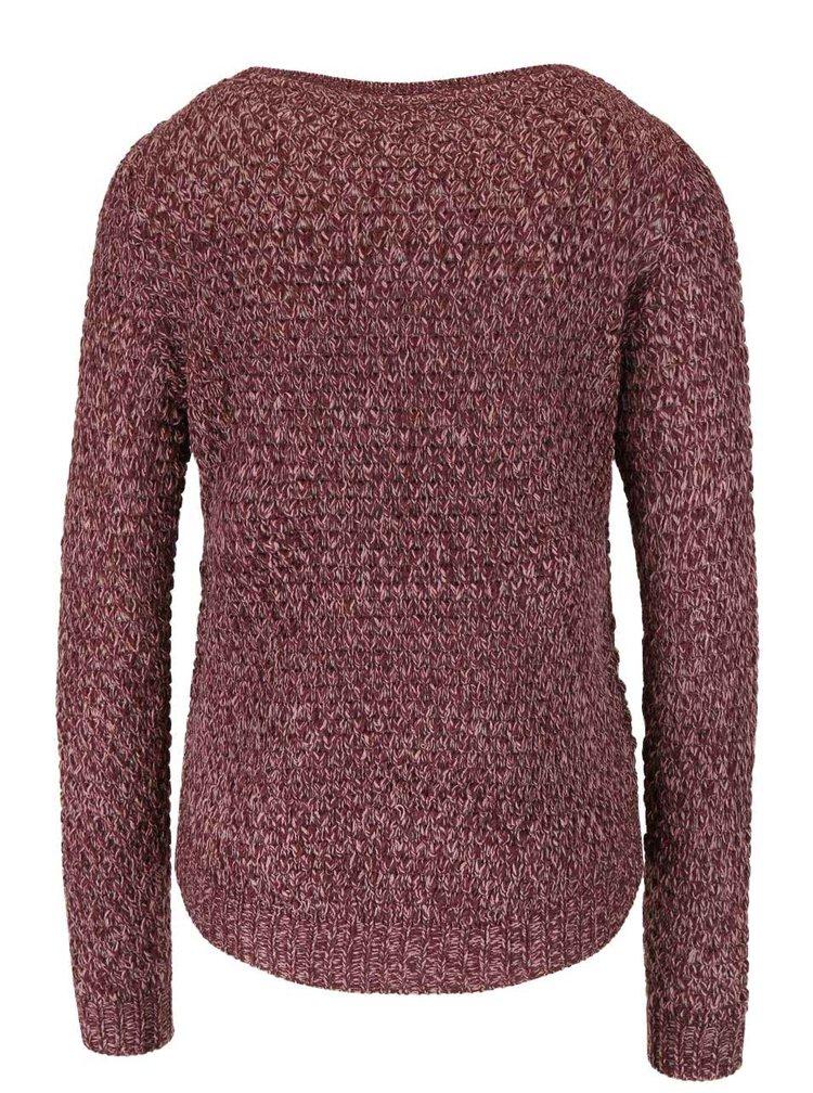 Vínový melírovaný sveter VERO MODA Surf