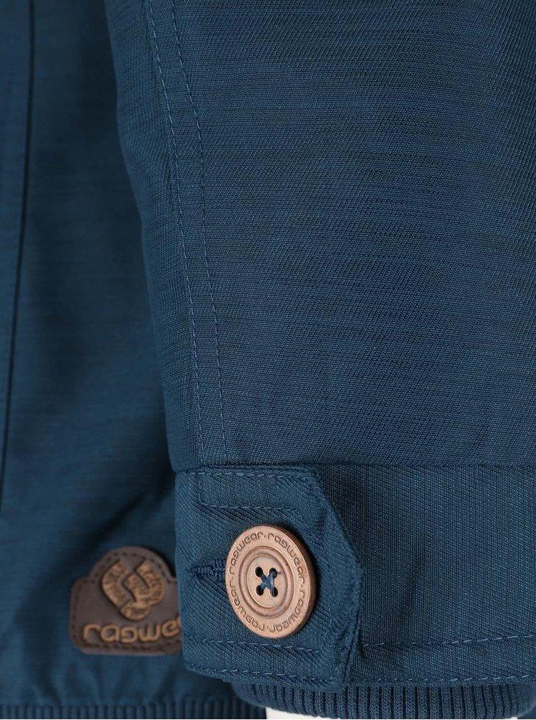 Petrolejová dámská žíhaná bunda s umělým kožíškem Ragwear Wooki