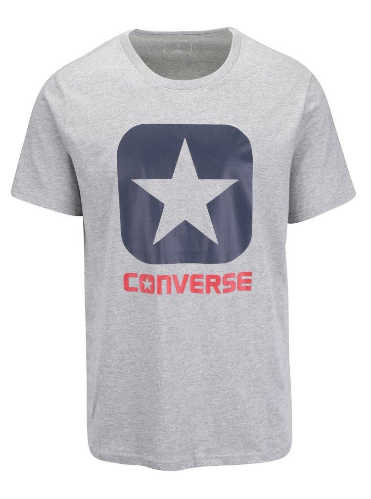 Sivé pánske tričko s potlačou Converse Core boxstar