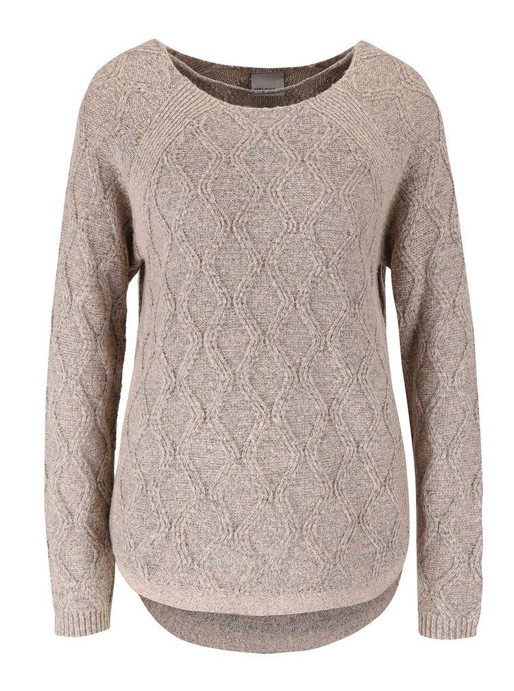 Sivoružový sveter s jemným vzorom VERO MODA Raven