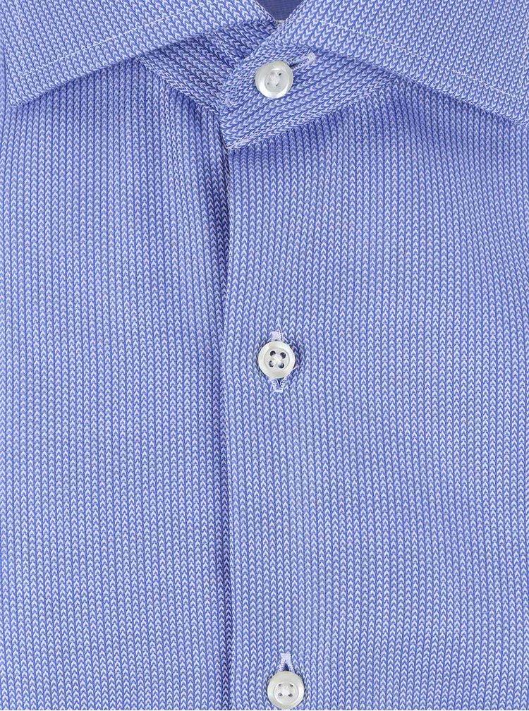 Camasa albastra Seven Seas din bumbac cu model discret