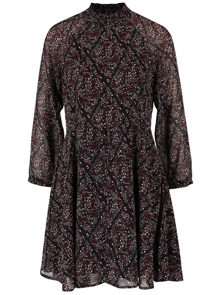 Čierne kvetované šaty s dlhým rukávom VERO MODA Harly
