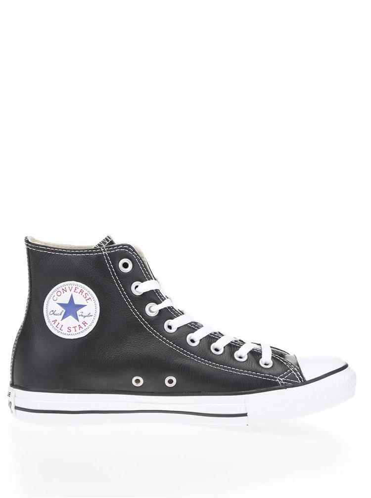 Čierne kožené unisex členkové tenisky Converse Chuck Taylor All Star