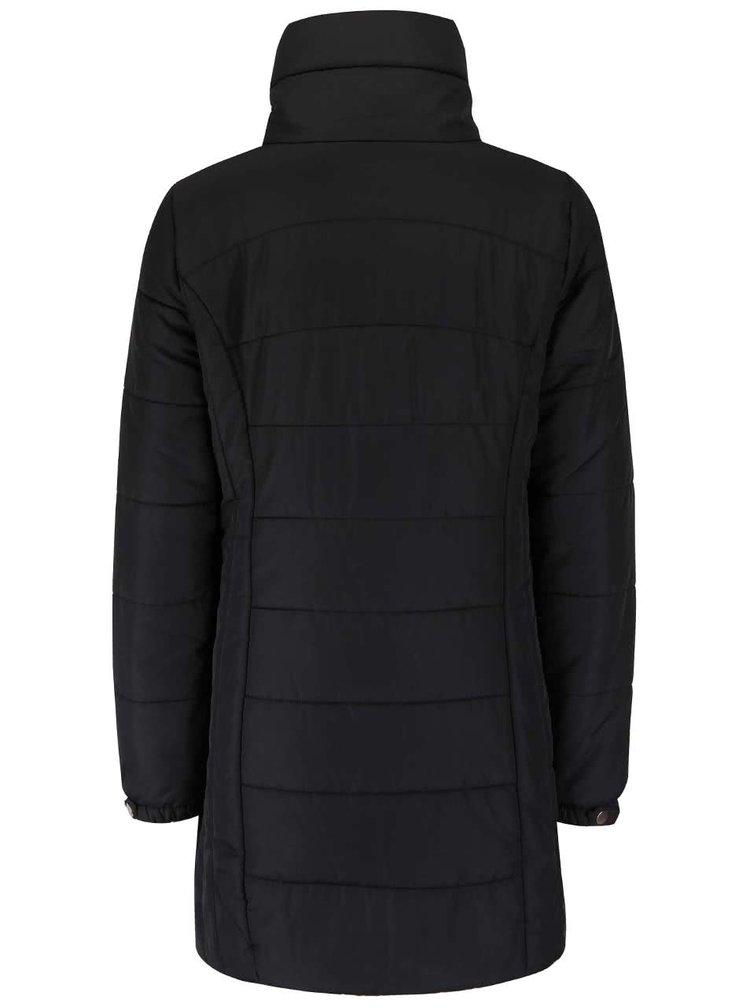 Černý dlouhý prošívaný kabát s vysokým límcem VERO MODA Papette