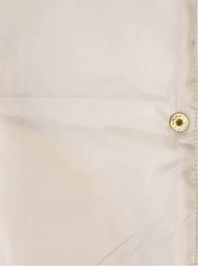 Béžový dlouhý prošívaný kabát s vysokým límcem VERO MODA Papette
