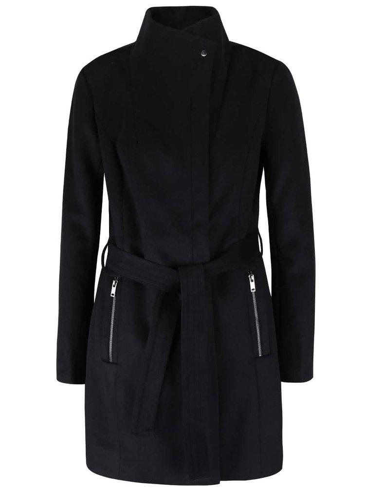 Čierny kabát s opaskom VERO MODA Call