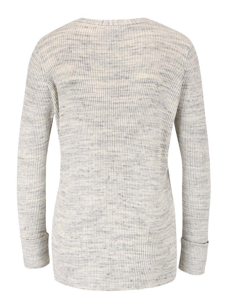 Sivý melírovaný sveter so šnurovaním VERO MODA Ludwig