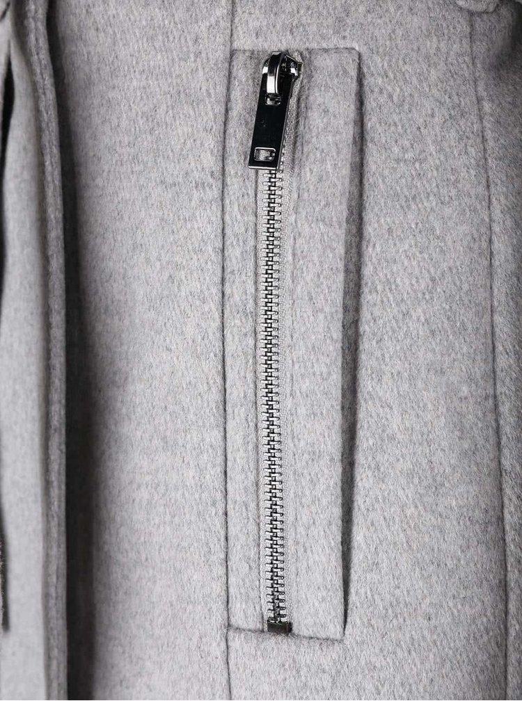 Světle šedý žíhaný kabát s páskem VERO MODA Call