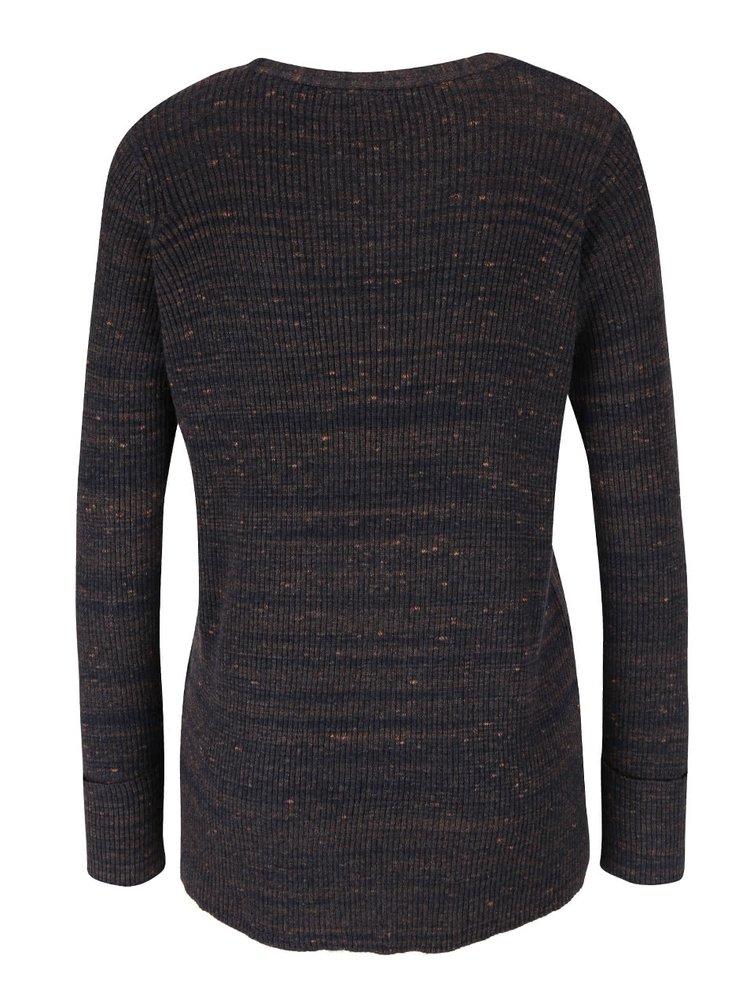 Tmavomodrý melírovaný sveter so šnurovaním VERO MODA Ludwig