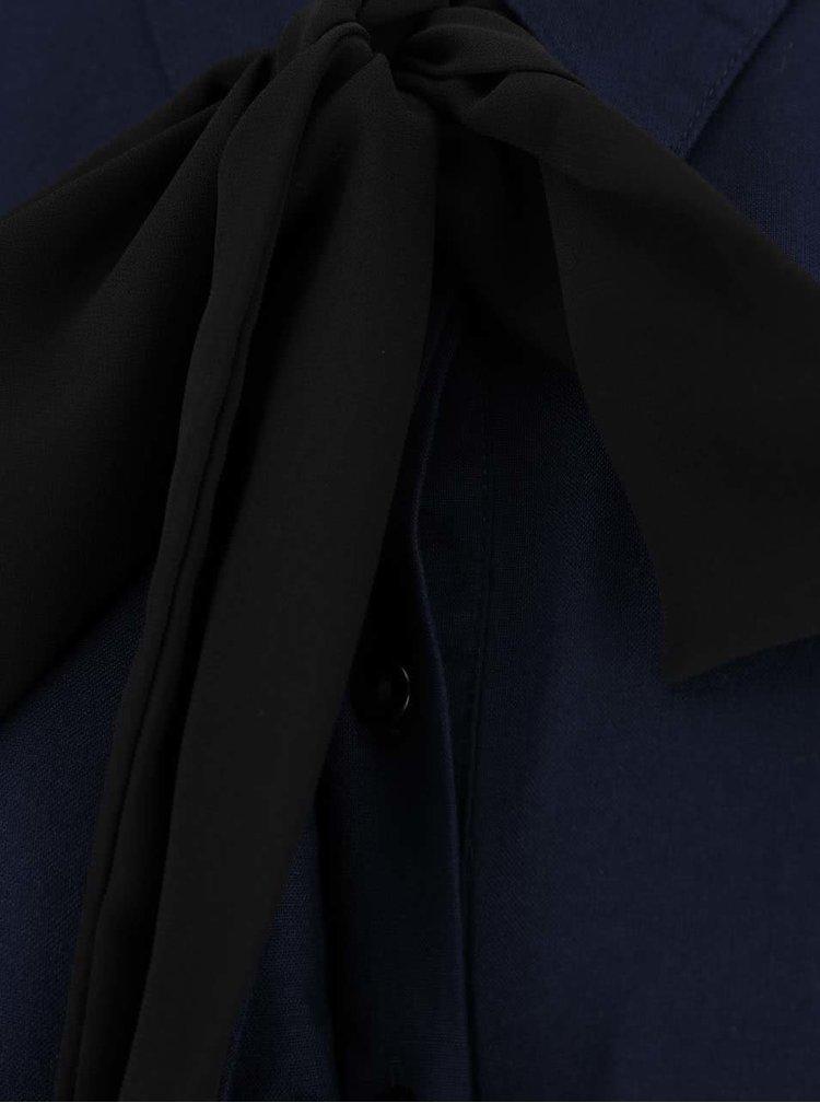 Tmavě modrá halenka s mašlí VERO MODA Harly