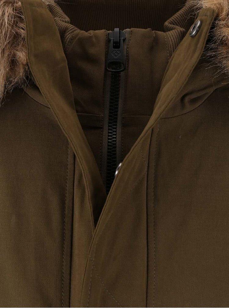 Kaki pánska bunda s umelým kožúškom Ragwear Dock