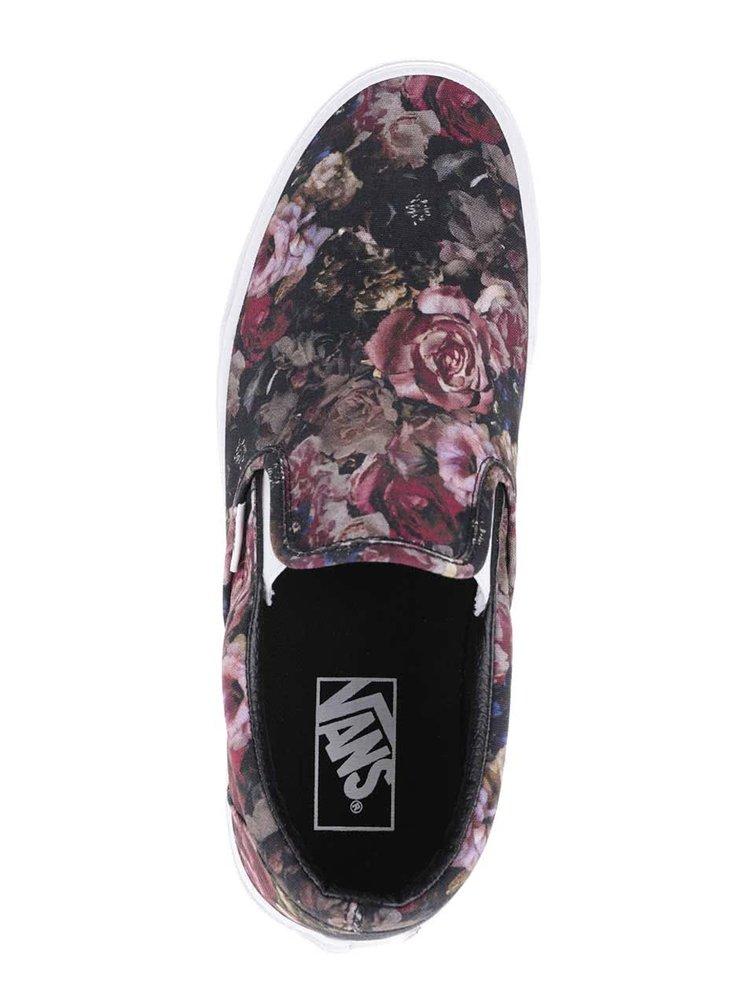 Čierne dámske slip on tenisky s potlačou kvetín Vans Classic