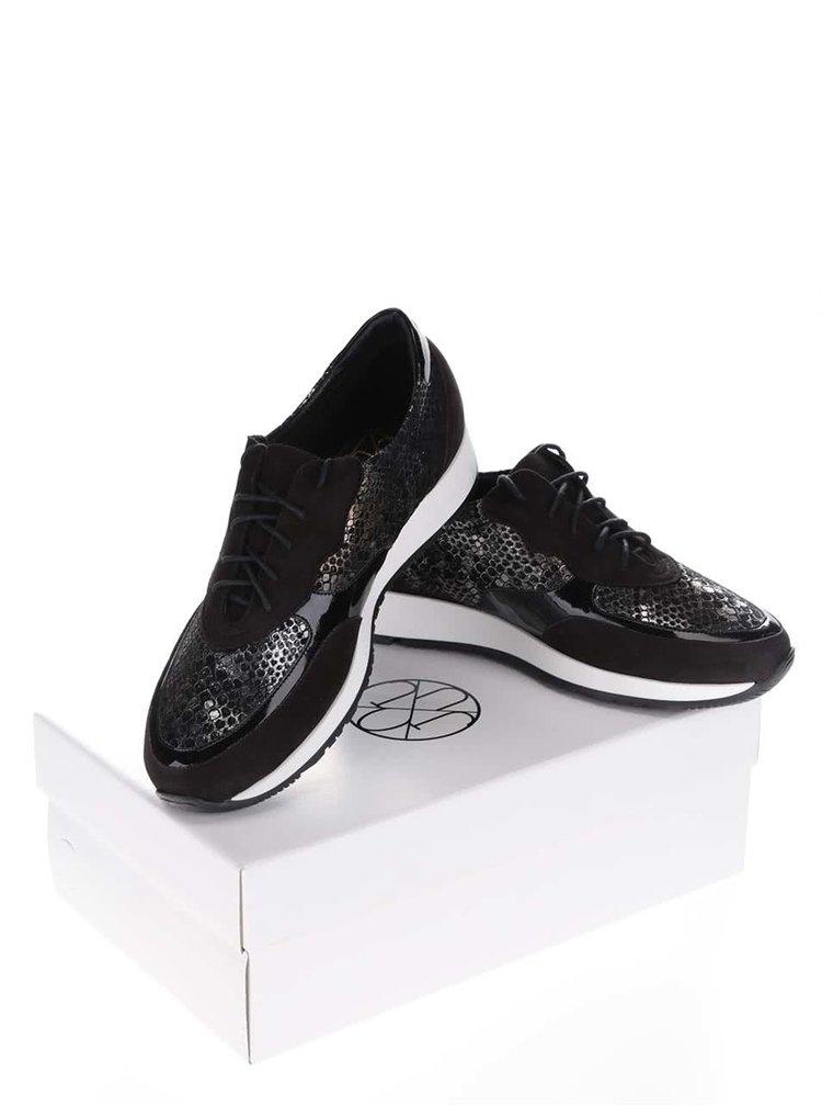 Pantofi sport negri OJJU detalii aspect piele de șarpe