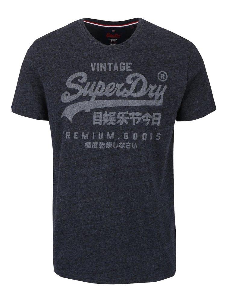 Tmavosivé pánske žíhané tričko s nápisom Superdry