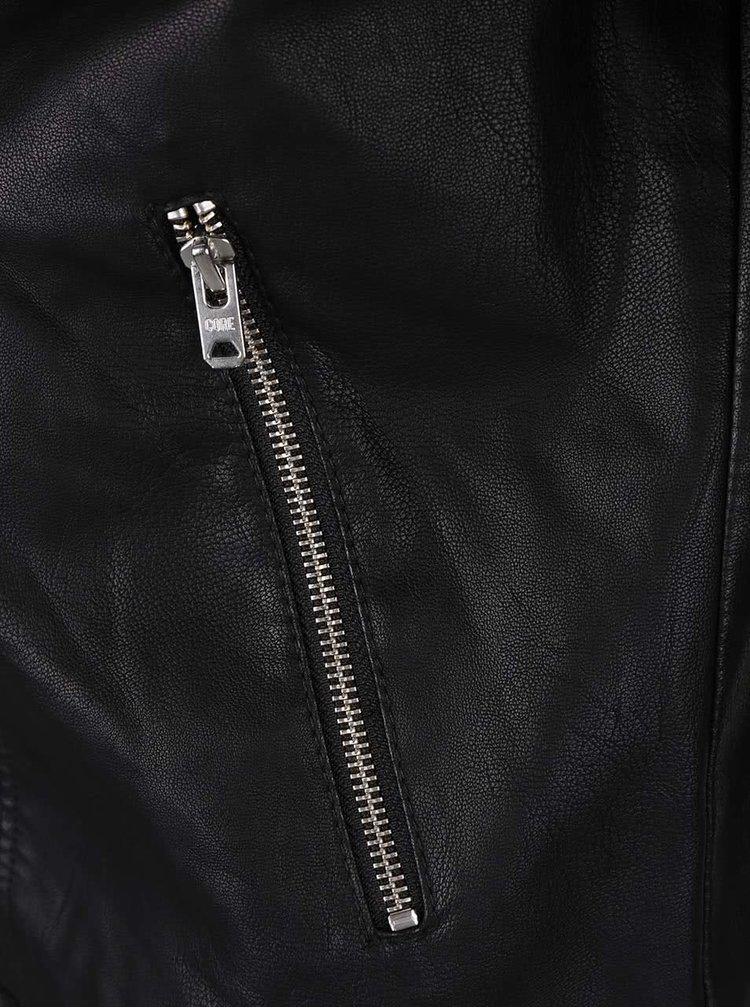 Černý koženkový křivák Jack & Jones Benjamin