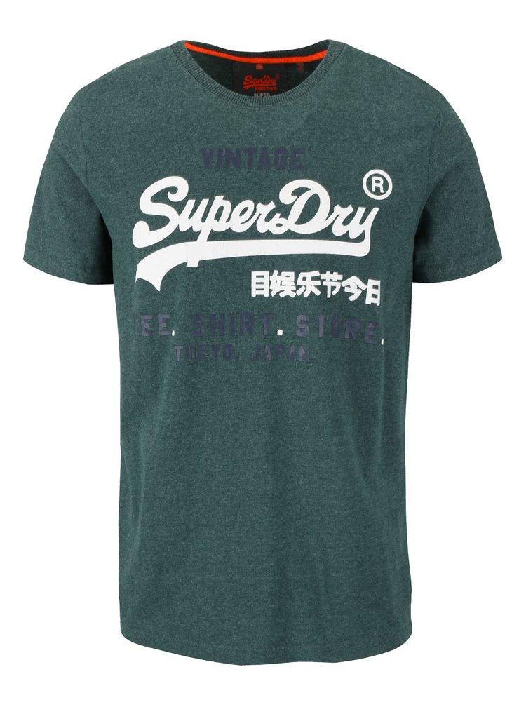 Tricou verde melanj Superdry cu print