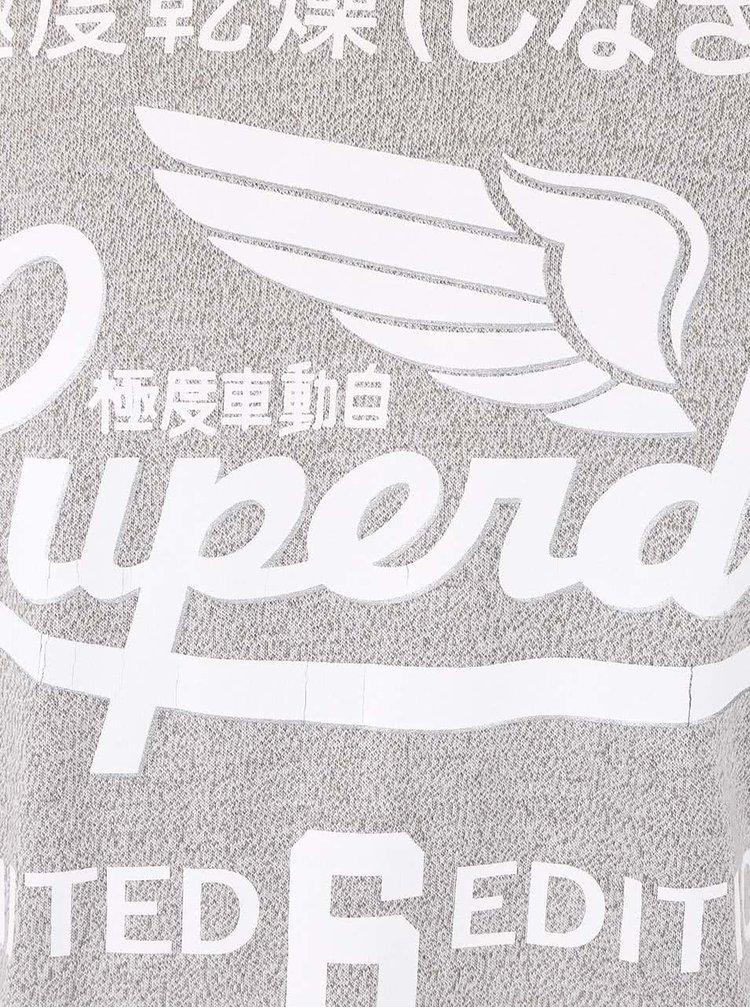 Světle šedé žíhané pánské triko s nápisem Superdry