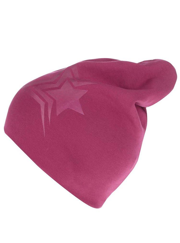 Tmavě růžová holčičí čepice s potiskem hvězdy name it Moppy