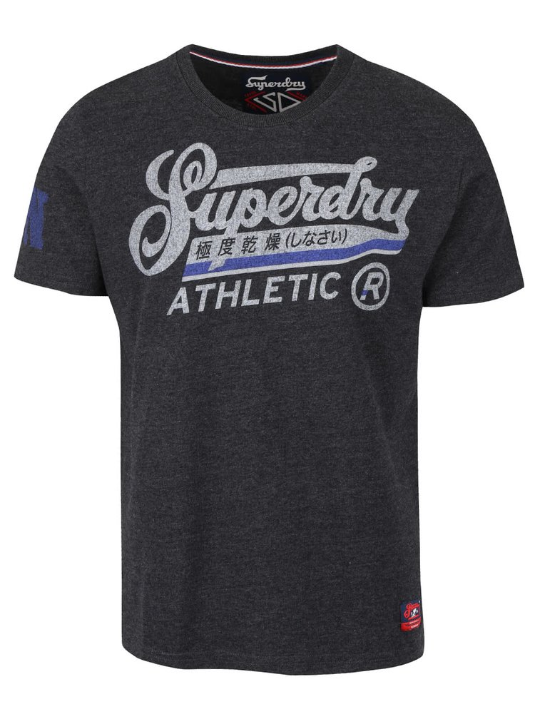 Tricou gri Superdry cu text