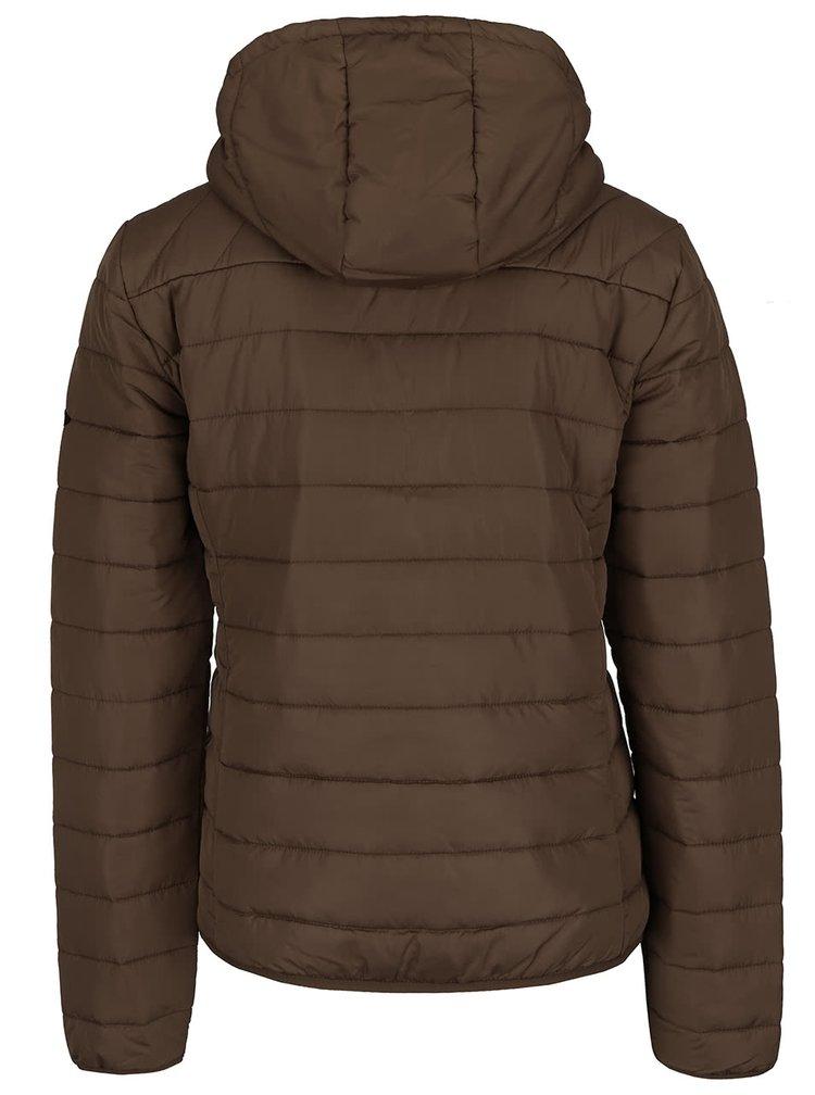 Sivohnedá prešívaná bunda s kapucňou ONLY Marit