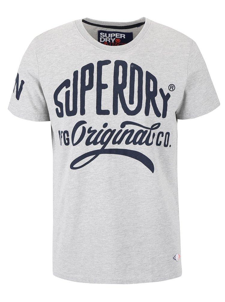 Tricou gri cu imprimeu Superdry