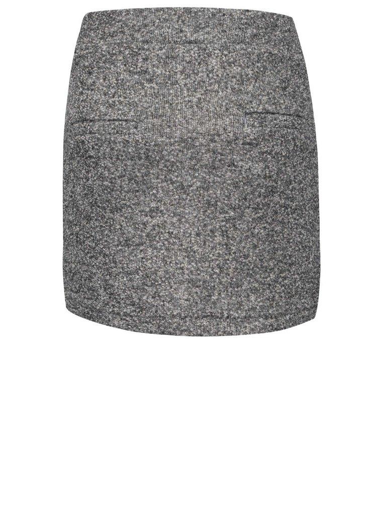 Tmavosivá melírovaná dievčenská sukňa s detailmi v zlatej farbe Name it Nitlina