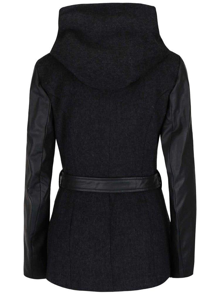 Palton negru ONLY Lisford cu glugă